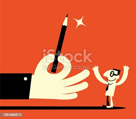 Unique Characters Full Length Vector art illustration.Copy Space. Big hand giving pencil to man.