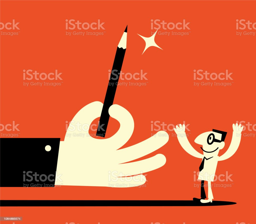 Big hand giving pencil to man vector art illustration