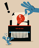 Blue Little Guy Characters Full Length Vector Art Illustration. Big hand inserts a paper with an idea light bulb into the paper shredder and a man gets disappointed.