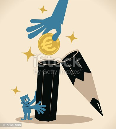 Business Characters Full Length Vector Art Illustration. Big hand (client, reader) is putting European Union currency into an open pencil held by a man (editor, writer); To earn a living from the knowledge you already have; Turning your imagination into money; Royalty on books.