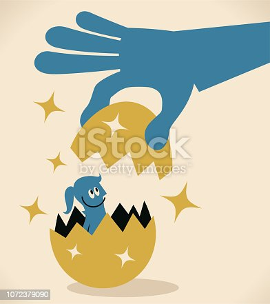 Blue Little Guy Characters Full Length Vector art illustration.Copy Space. Big hand peeling an gold egg to free a blue woman.