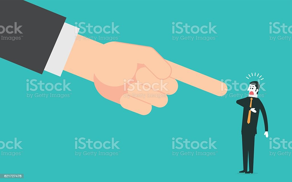 Big hand pointing a businessman vector art illustration