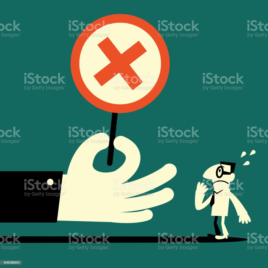 Big hand showing a cross shape sign (wrong mark) to a  businessman vector art illustration