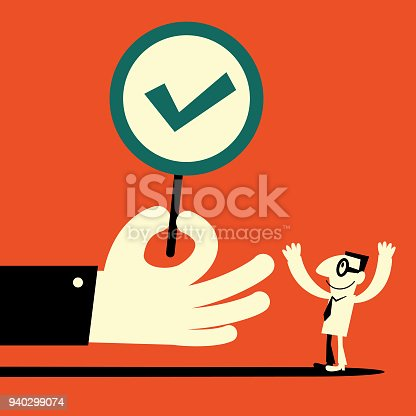 Businessman Characters Vector art illustration.Copy Space, Full Length. Big hand showing a tick sign (right mark) to a  businessman.