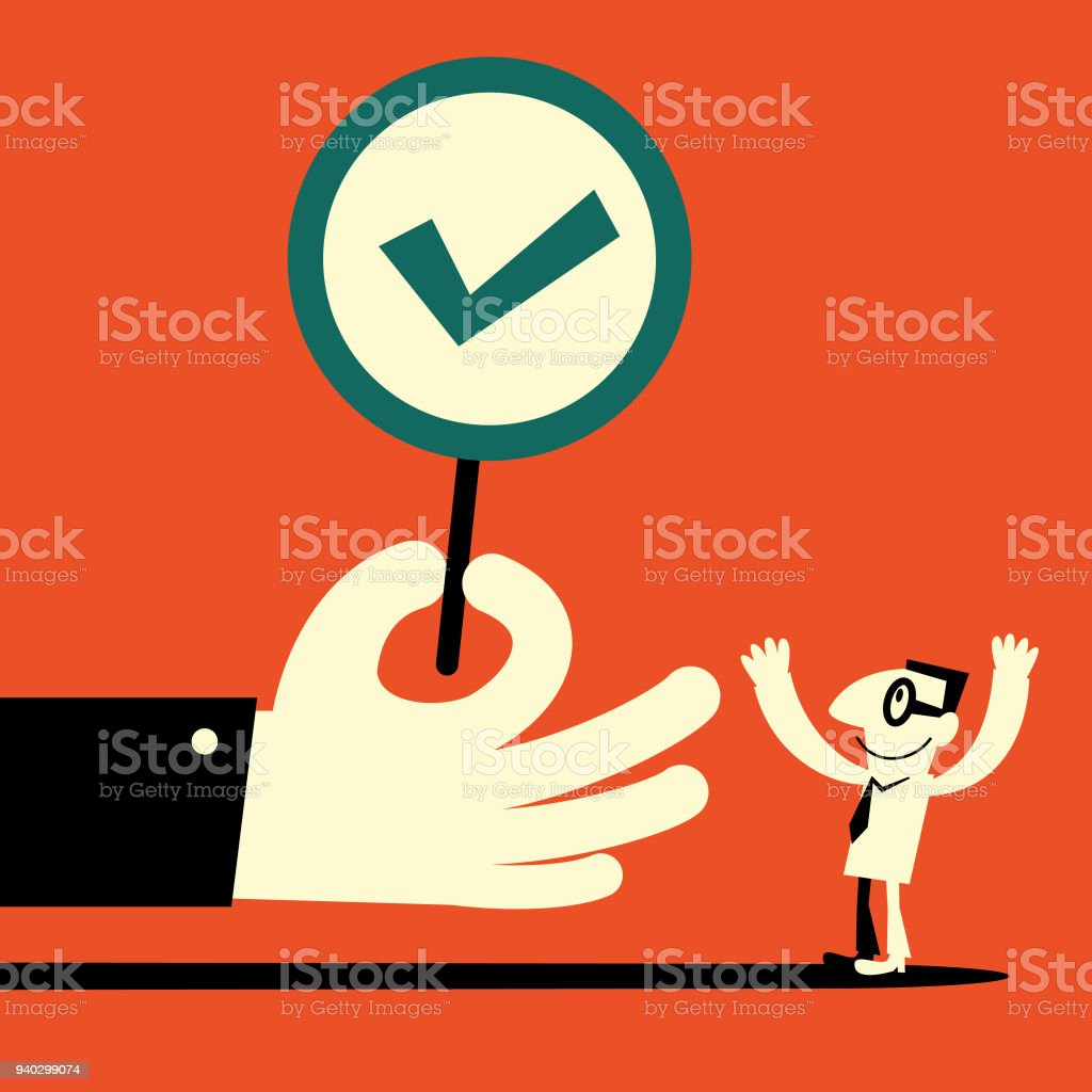 Big hand showing a tick sign (right mark) to a  businessman vector art illustration