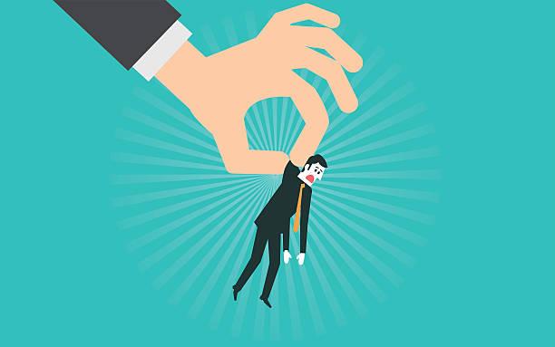大きな手を投げる実業家 - クラシファイド広告点のイラスト素材/クリップアート素材/マンガ素材/アイコン素材