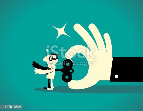 Business Man Characters with Glasses Manga Style Cartoon Vector art illustration. Full Length. Big hand turning a wind-up key on a businessman back.