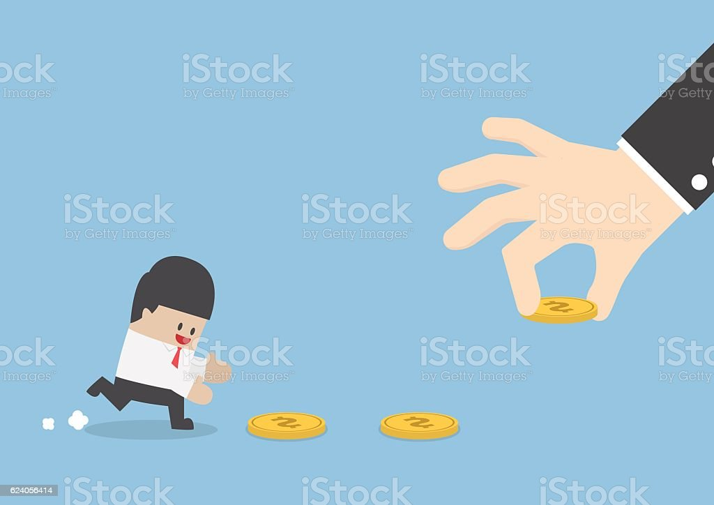 Big hand use money to entice businessman vector art illustration
