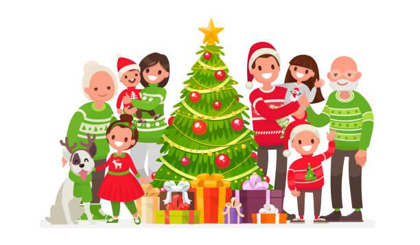 ilustrações de stock, clip art, desenhos animados e ícones de big happy family and christmas tree with gifts. vector illustration - family christmas