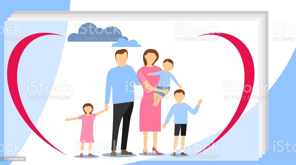 Big happy family. Big family with children concept. Flat cartoon...