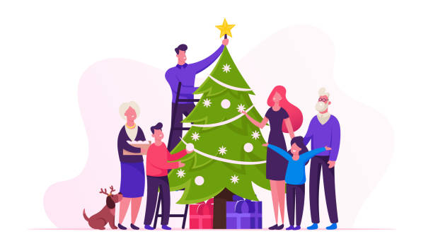 Big Happy Family Decorate Christmas Tree Together Prepare for Winter Holidays Celebration Hanging Balls and Star on Top of Spruce, People Celebrating New Year at Home. Cartoon Flat Vector Illustration Big Happy Family Decorate Christmas Tree Together Prepare for Winter Holidays Celebration Hanging Balls and Star on Top of Spruce, People Celebrating New Year at Home. Cartoon Flat Vector Illustration christmas family stock illustrations