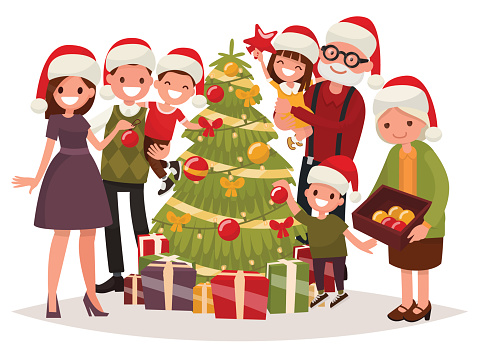 Big happy family decorates the Christmas tree. Vector illustration clipart