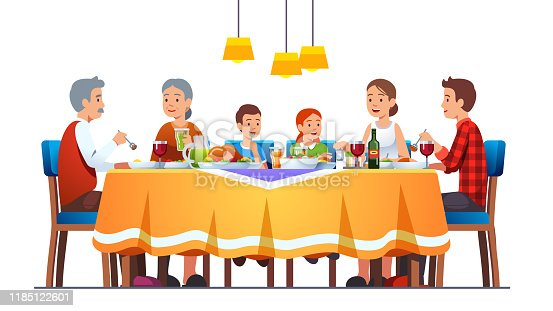 Big happy family dining together celebrating thanksgiving with turkey, wine. Grandparents, parents, kids eating together sitting at full laid table smiling, talking. Flat style vector character isolated illustration