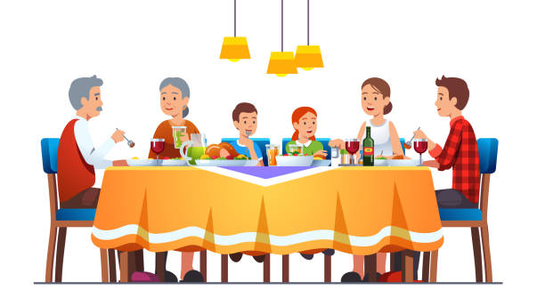 Big happy family dining together celebrating thanksgiving with turkey, wine. Grandparents, parents, kids eating together sitting at full laid table smiling, talking. Flat vector illustration Big happy family dining together celebrating thanksgiving with turkey, wine. Grandparents, parents, kids eating together sitting at full laid table smiling, talking. Flat style vector character isolated illustration dinner stock illustrations