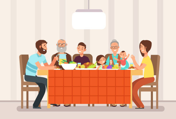 illustrazioni stock, clip art, cartoni animati e icone di tendenza di big happy family eating lunch together in living room cartoon vector illustration - cena