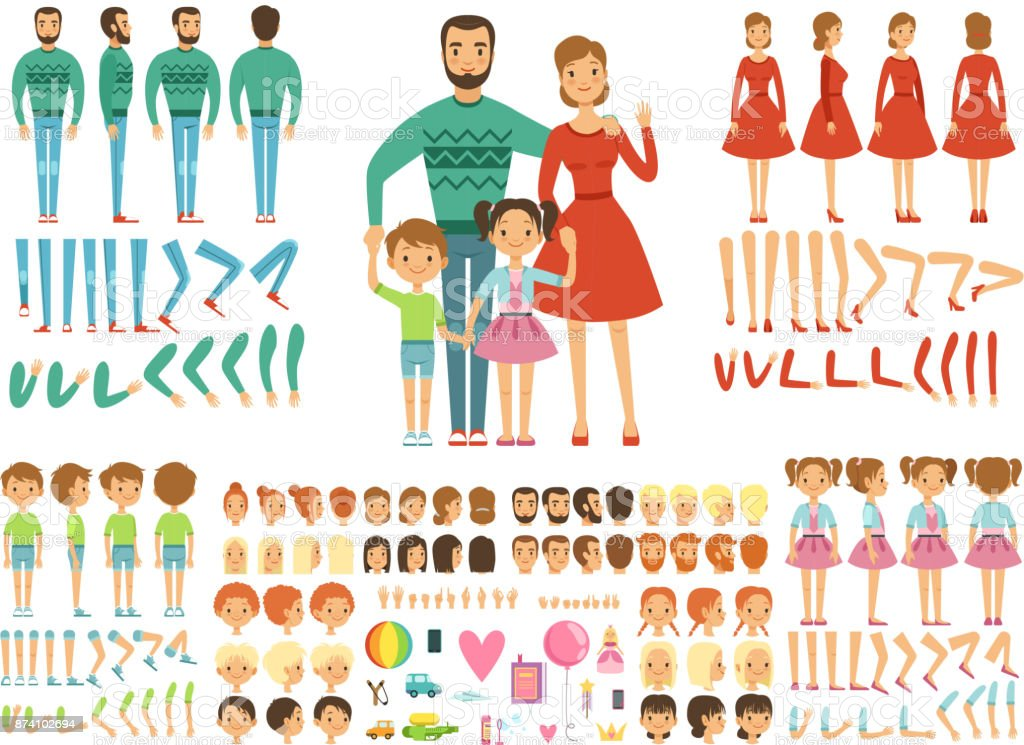 Big happy family. Mother, father and childrens. Mascot creation kit. Funny couple with kids royalty-free big happy family mother father and childrens mascot creation kit funny couple with kids stock illustration - download image now