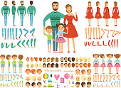 Big happy family. Mother, father and childrens. Mascot creation kit. Funny couple with kids. Family cartoon constructor with emotion and pose. Vector illustration