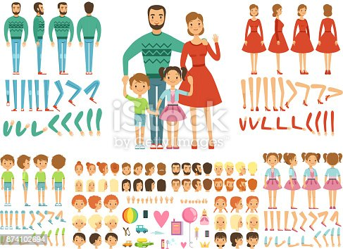 istock Big happy family. Mother, father and childrens. Mascot creation kit. Funny couple with kids 874102694
