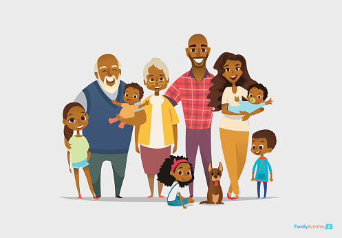 Big happy family portrait. Three generations - grandparents, parents and clipart