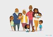 Big happy family portrait. Three generations - grandparents, parents and