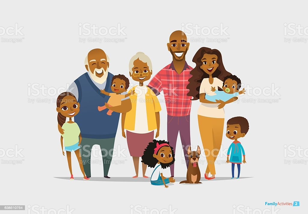 Big happy family portrait. Three generations - grandparents, parents and - ilustración de arte vectorial
