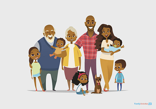 Big happy family portrait. Three generations - grandparents, parents and vector art illustration