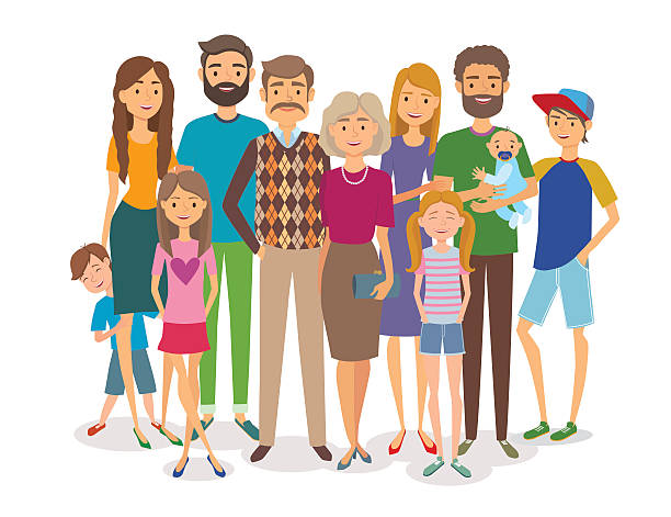 big happy family. several generations - old man smile silhouette stock illustrations