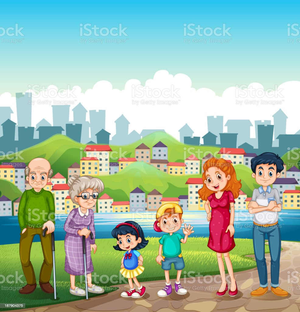 big happy family standing at  riverbank across the village royalty-free big happy family standing at riverbank across the village stock vector art & more images of adult