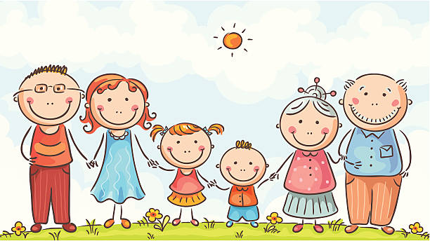 Big happy family vector art illustration
