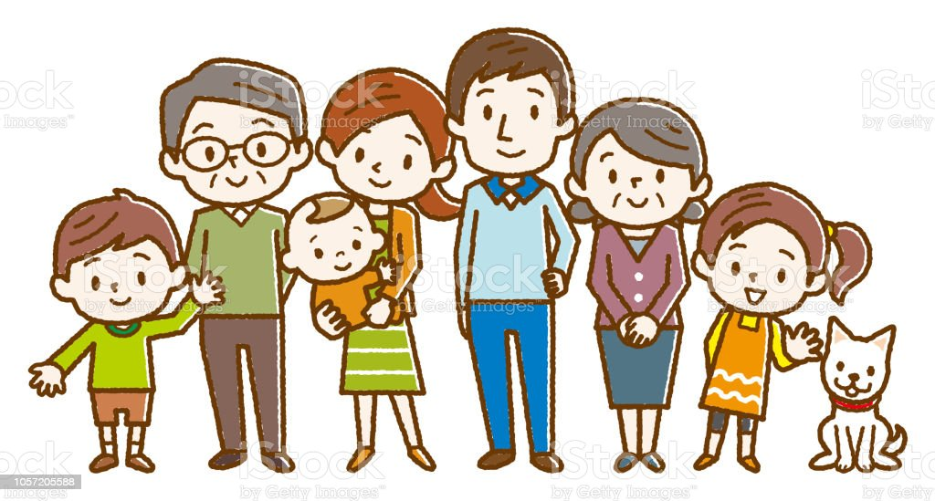 Big happy family. Vector illustration. vector art illustration
