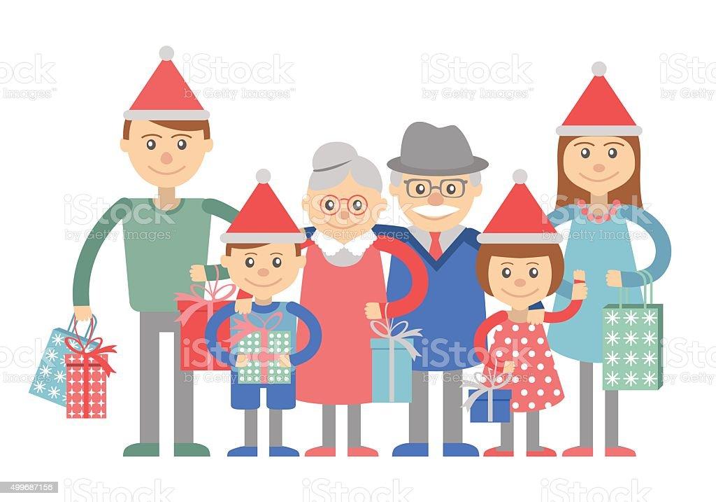 Große Glückliche Familie Mit Weihnachtsgeschenke In Händen Stock ...