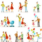 Big happy family with mother, father, grandmother and grandfather. Two smiling kids. Vector characters set in cartoon style