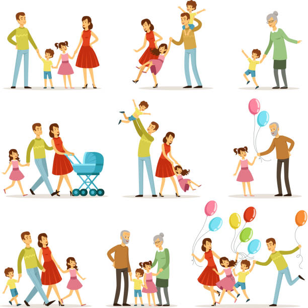 Big happy family with mother, father, grandmother and grandfather. Two smiling kids. Vector characters set in cartoon style vector art illustration