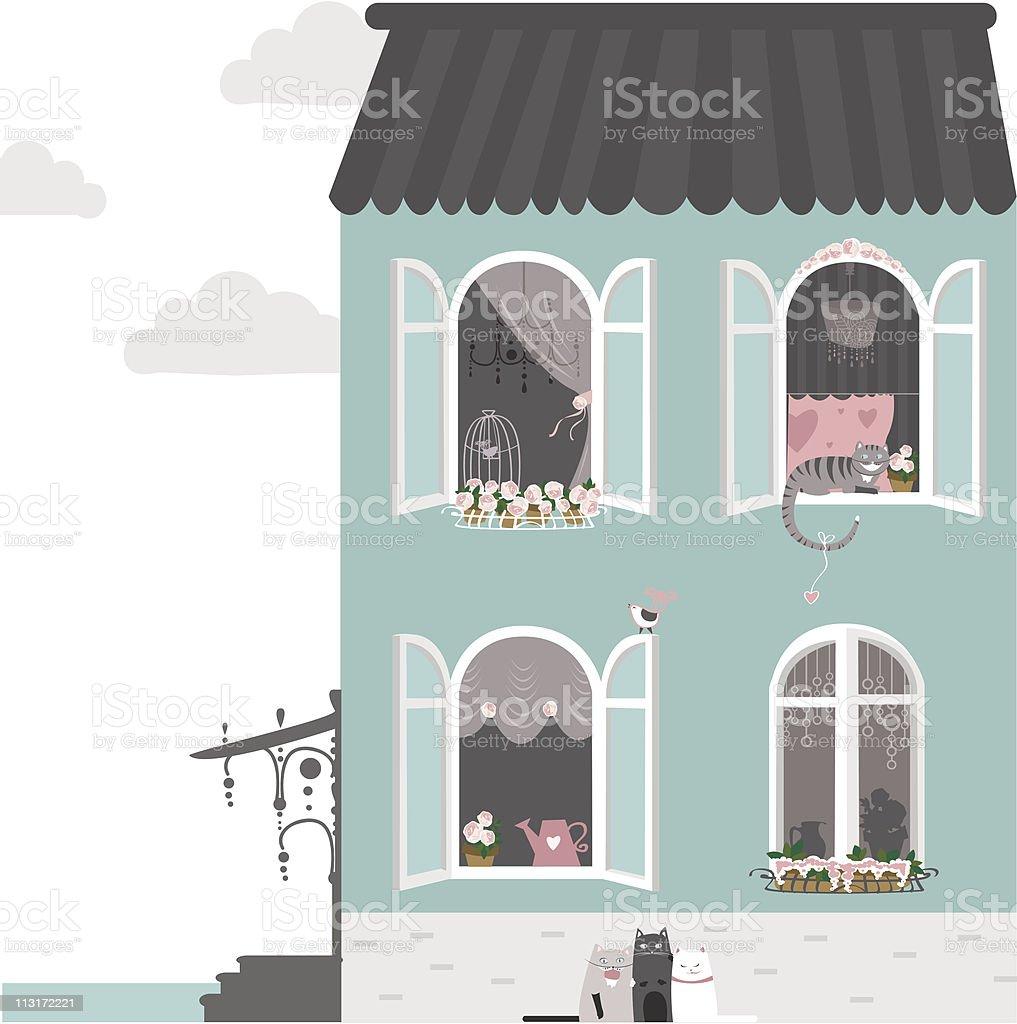 Big happy house royalty-free stock vector art