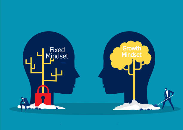Big head human think growth mindset different fixed mindset concept vector Big head human think growth mindset different fixed mindset concept vector attitude stock illustrations
