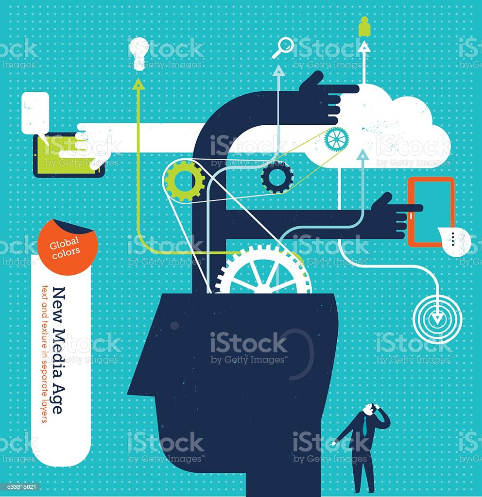 Big head with  gears hands and cloud vector art illustration
