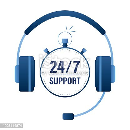 Big headset and watch. Support 24/7 concept banner. Customer service and mobile assistant. Call center logo template. Trendy style vector illustration