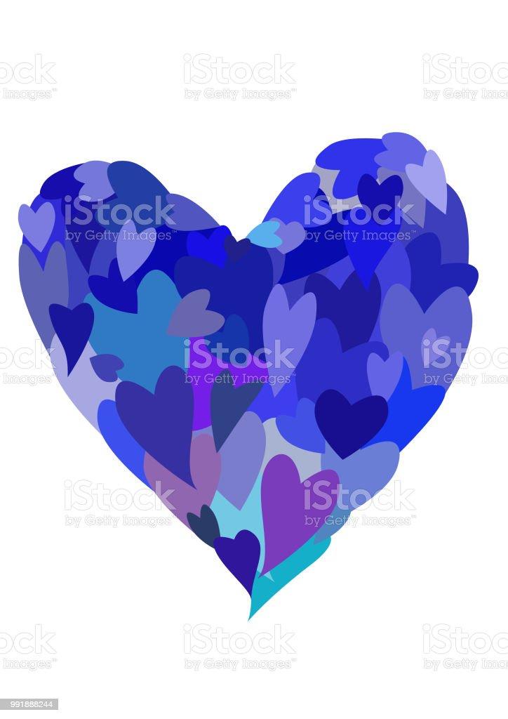 Bircok Kucuk Mavi Kalpler Buyuk Kalp Stok Vektor Sanati Aydinlik