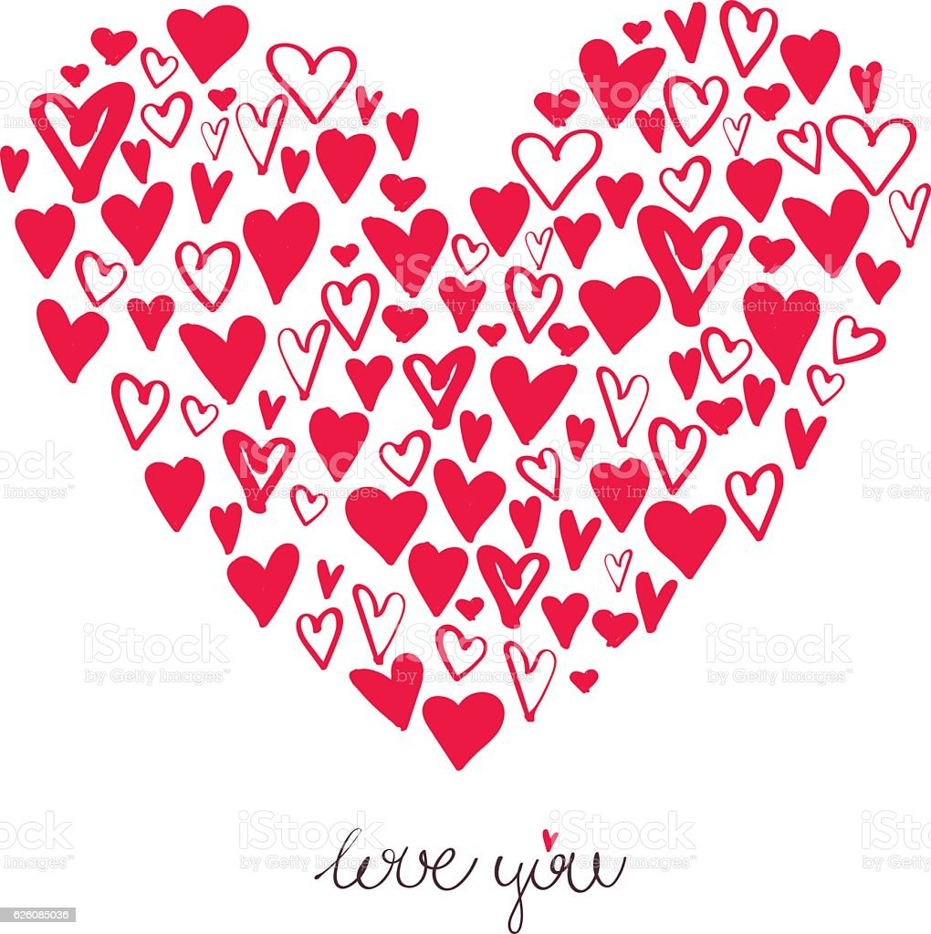 Big heart made from small hearts valentines day card stock vector big heart made from small hearts valentines day card royalty free big heart made buycottarizona Image collections