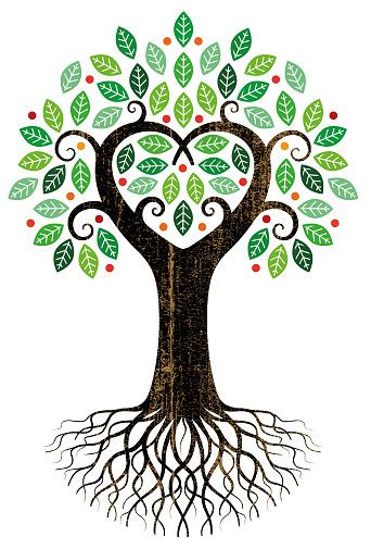 Big heart tree illustration