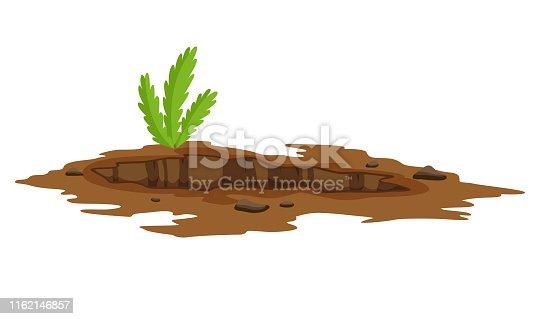 A Big Hole the Ground illustration. Ground works digging of sand coal waste rock and gravel illustration
