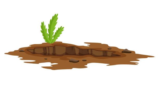 stockillustraties, clipart, cartoons en iconen met een groot gat de grond illustratie. grondwerken graven van zandsteen kool afval rots en grind illustratie - geërodeerd