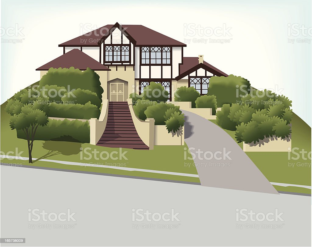 Big house - Tudor style vector art illustration