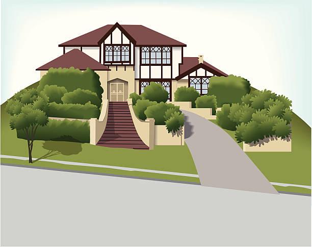 big house – tudor style - villas stock-grafiken, -clipart, -cartoons und -symbole