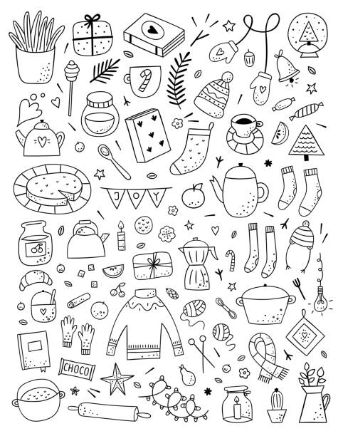 ilustrações de stock, clip art, desenhos animados e ícones de big hygge collection with hand drawn vector outline illustrations. hygge symbols and icons on white background. scandinavian lifestyle objects - hygge
