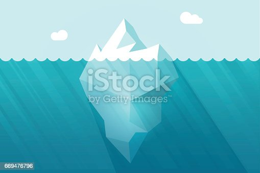 Big iceberg floating on water waves with underwater part vector illustration flat cartoon style