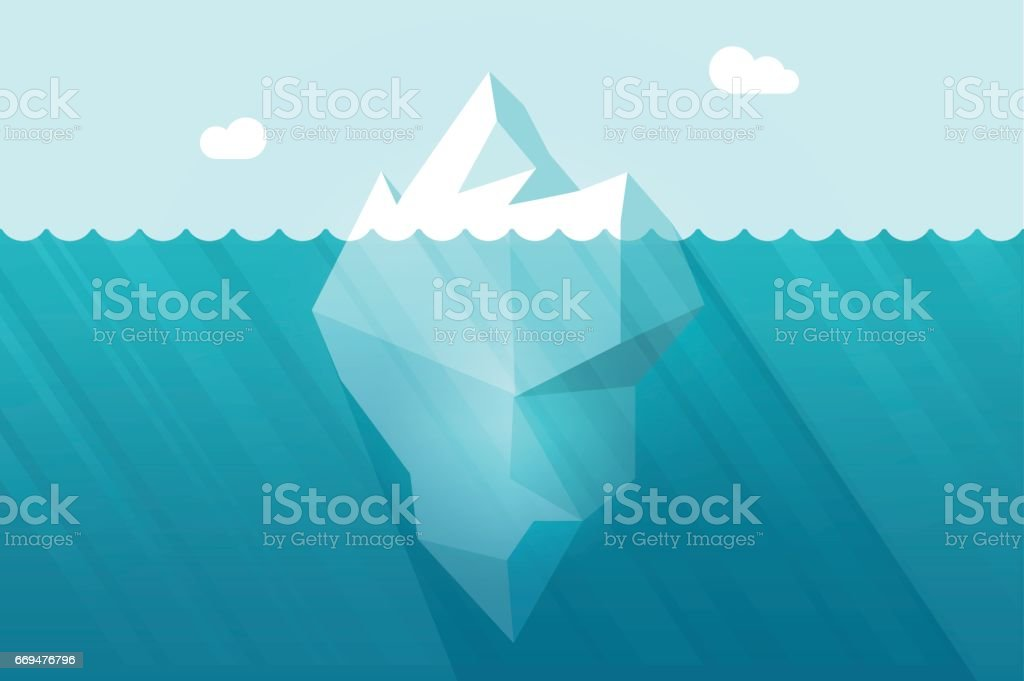 Big iceberg floating on water waves with underwater part vector illustration vector art illustration