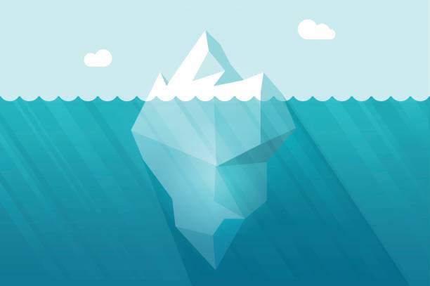 Big iceberg floating on water waves with underwater part vector illustration Big iceberg floating on water waves with underwater part vector illustration flat cartoon style arctic stock illustrations