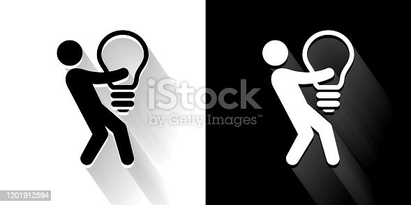 Big Idea Businessman Black and White Icon with Long Shadow. This 100% royalty free vector illustration is featuring the square button and the main icon is depicted in black and in white with a black icon on it. It also has a long shadow to give the icons more depth.