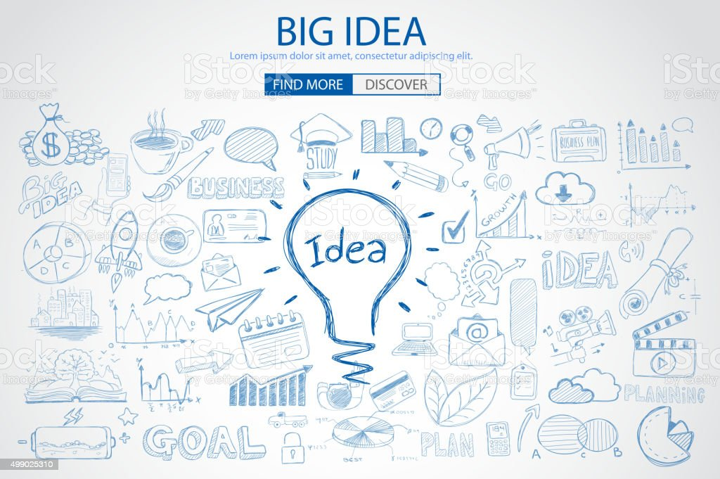 Big Idea concept with Doodle design style vector art illustration